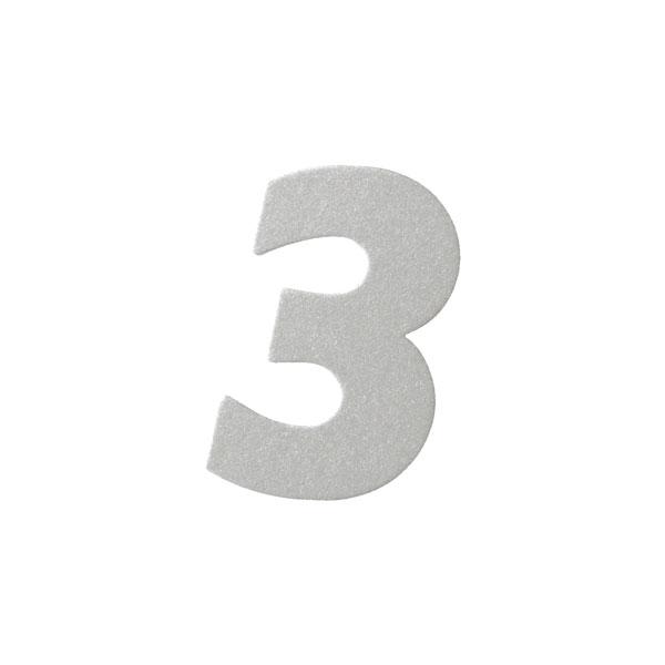 No.395ボードネームカードDC 数字3シルバー