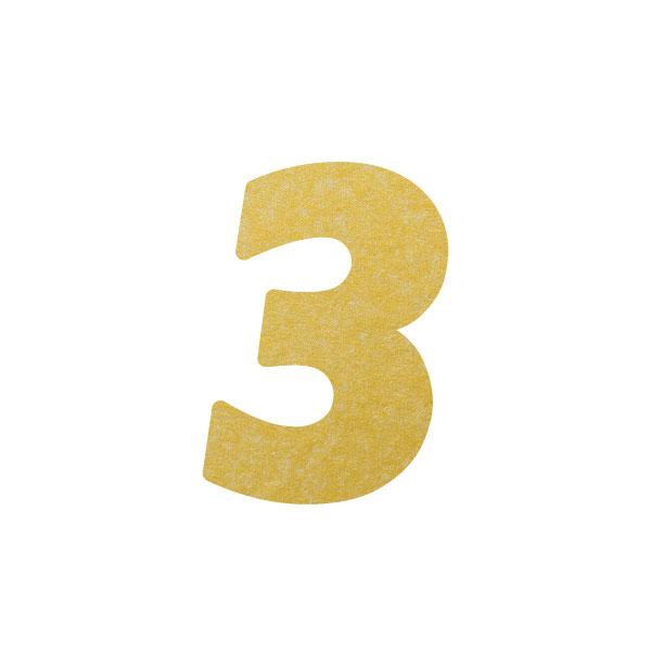 No.395ボードネームカードDC 数字3ゴールド