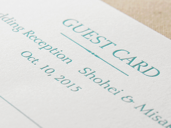 あたたかみのある活版印刷のゲストカード(お客様のデザイン)(はな様)