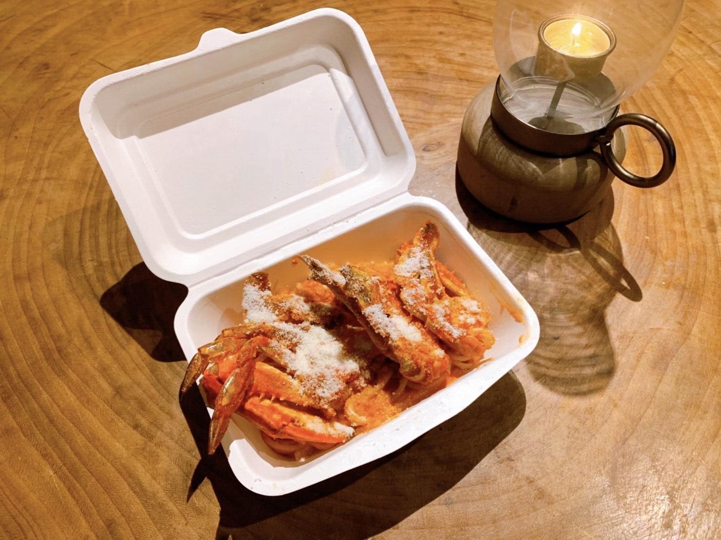渡り蟹のトマトクリームパスタのイメージ