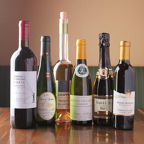 ワインを中心にアルコールも充実のイメージ