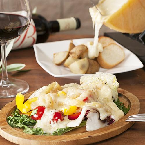 ラクレットチーズとワインの相性抜群のイメージ