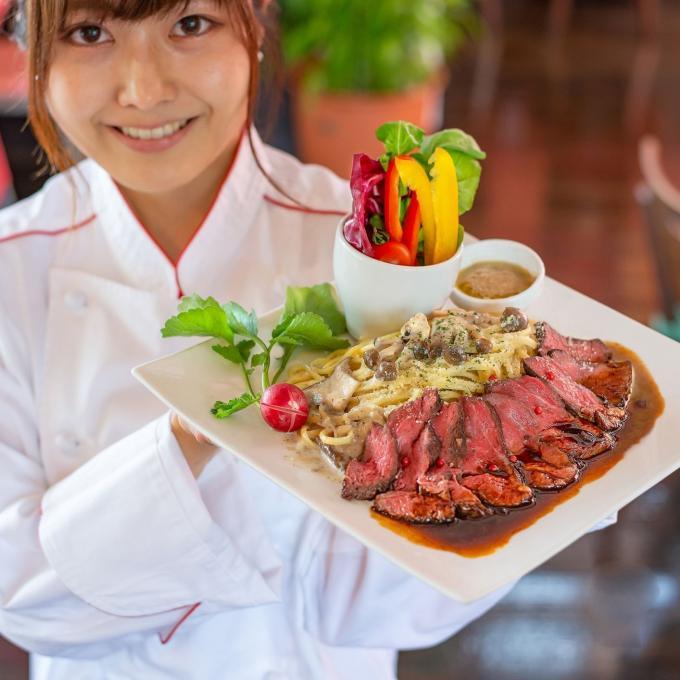 プレミアムパスタ『静岡牛・葵赤身ステーキ&茸のクリームソース』のイメージ