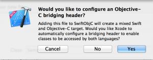 bridging header作成の確認