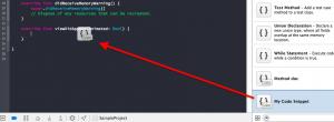 スニペットをコード中に追加