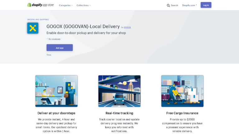 於Shopify App Store下載GOGOX Shopify App