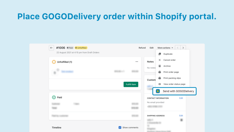1 Place GOGODelivery order within Shopify portal