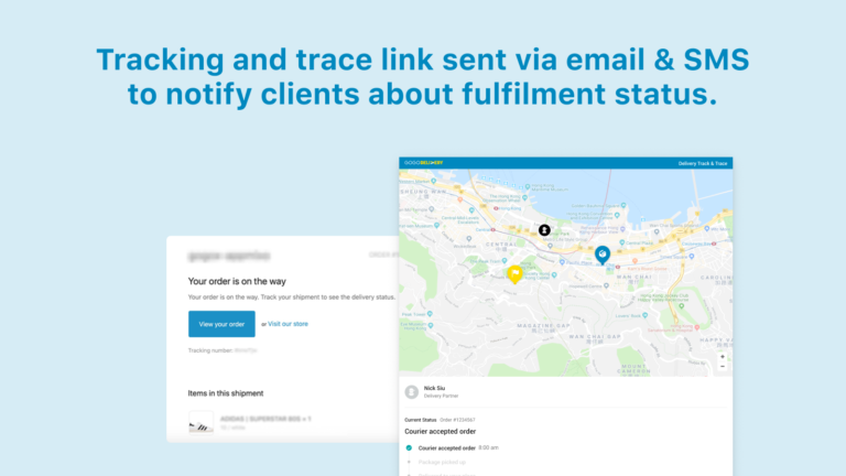4 Tracking and trace link sent via email & SMS to notify clients about fulfilment status