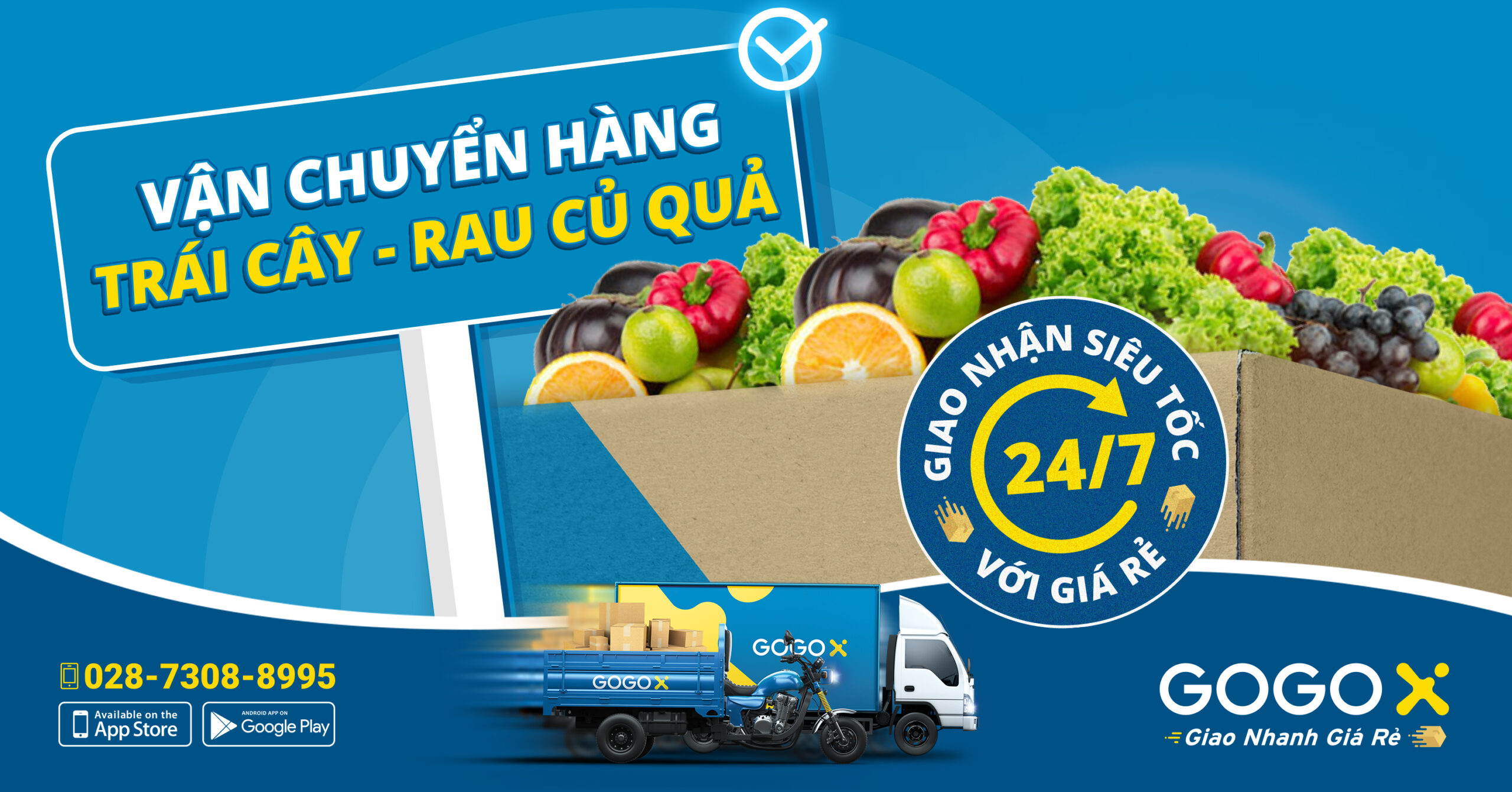 Thuê xe chở hàng thực phẩm, rau củ quả