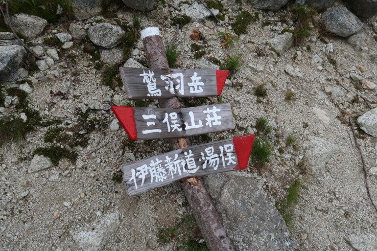 三俣山荘分岐 道標
