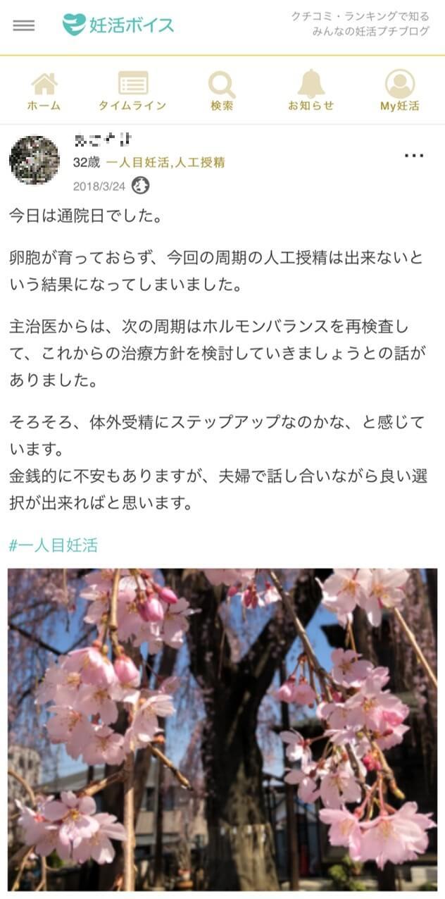 ユーザーAさん(32歳・1人目妊活・人工授精)のプチブログ