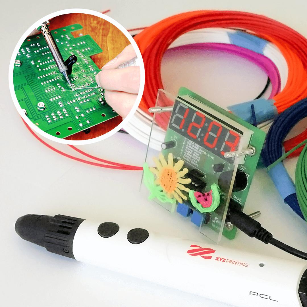 2.はんだ付け&3Dペン!電子工作でデジタル時計をつくろう!