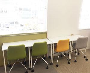 集中して作業したいときは、壁向きの席もご使用いただけます。