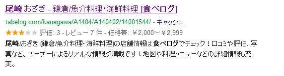私が大好きな鎌倉の海鮮料理屋さんの食べログ検索結果