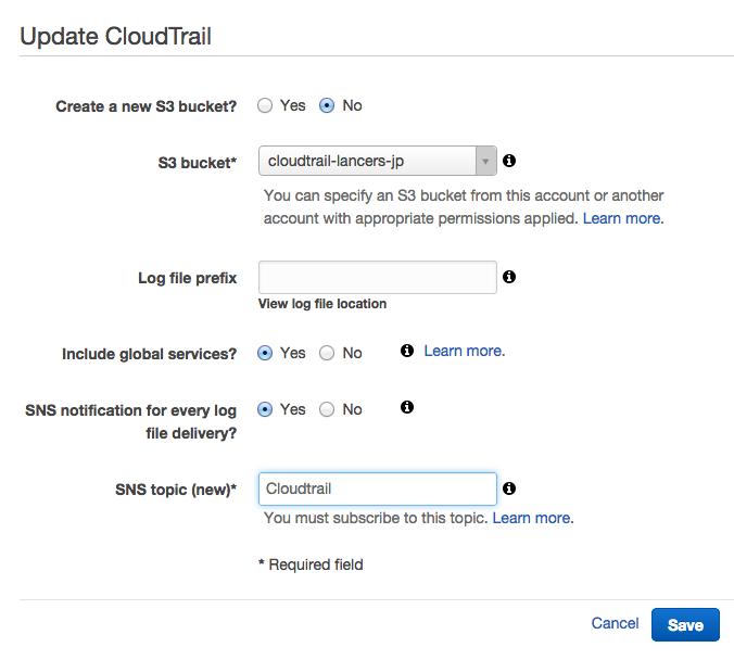 Update CloudTrail