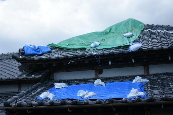 台風通過後、瓦が落ちブルーシートで覆われた「土の環」の屋根