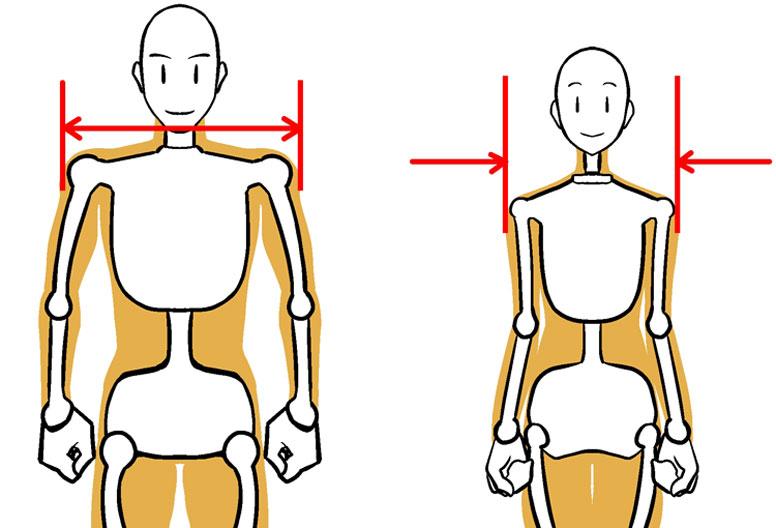 キャラクターの描き分け Step6 男女の身体ペンタブ練習 イラスト