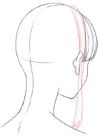 分け目つむじの位置で悩まない髪の基本的な描き方 イラスト
