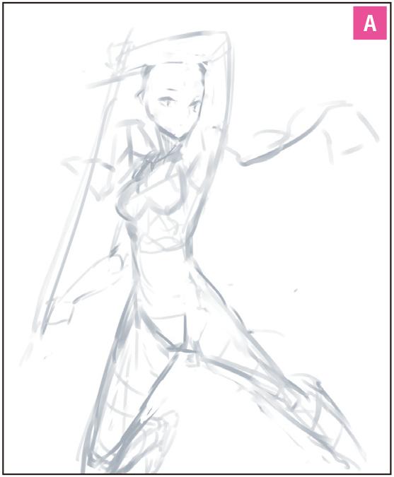 武器制服戦う美少女イラストメイキング厚塗り イラストマンガ