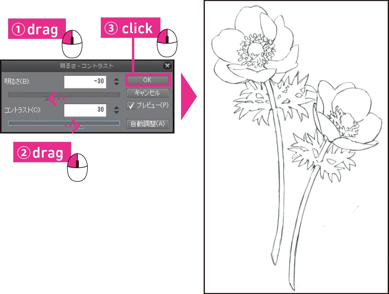 d6efd37dfd40b 下絵をもとに、[筆]ツールをクリックし、[サブツール]パレット ...