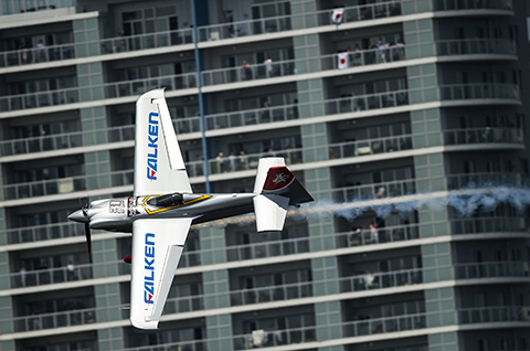 Yoshihide Muroya of Japan performs during the second stage of the Red Bull Air Race World Championship in Chiba, Japan on May 17, 2015. // Jörg Mitter/Red Bull Content Pool // P-20150517-00044 // Usage for editorial use only // Please go to www.redbullcontentpool.com for further information. //