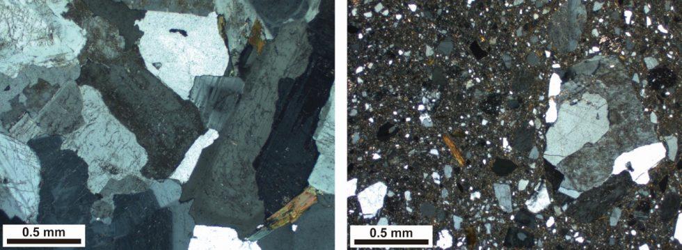 偏光顕微鏡で見た岩石薄片の写真