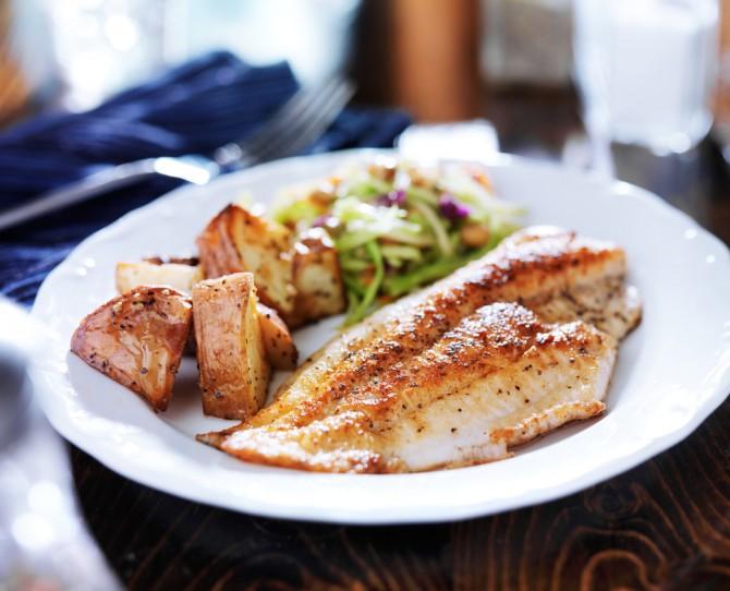 魚料理とサラダ