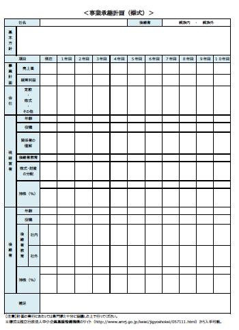 【事業承継計画 テンプレート】