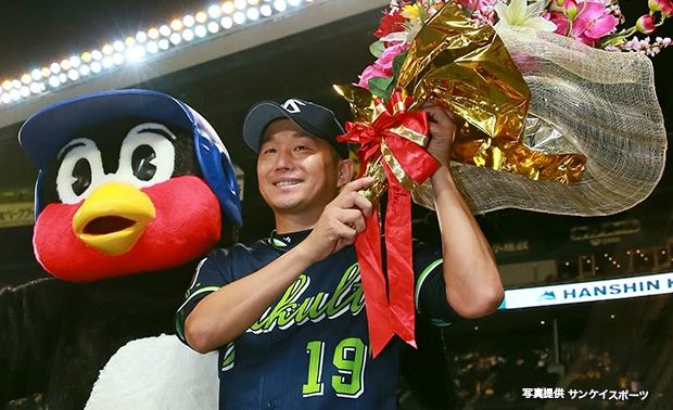 石川投手がプロ通算150勝達成!バレンティン選手に25号3ラン!4連勝で4位浮上!