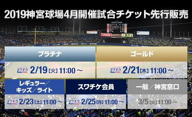 2019神宮球場4月開催試合チケット先行販売
