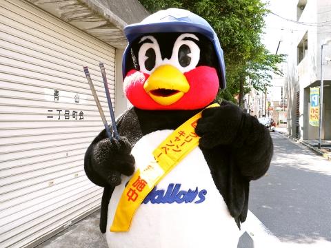つば九郎が青山キラー通り商店会付近での清掃活動に登場!