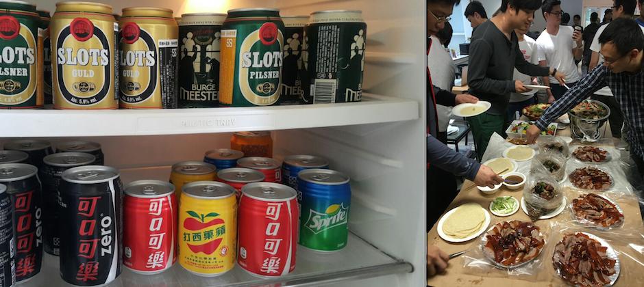 冰箱飲料跟辦公室照片
