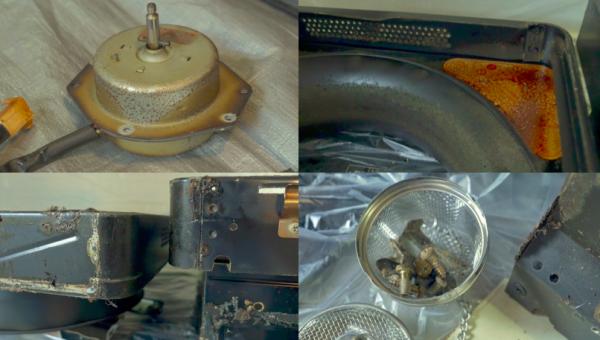 プロの換気扇クリーニングの業者さんがお掃除する前の換気扇のモーターとフードと部品のネジ