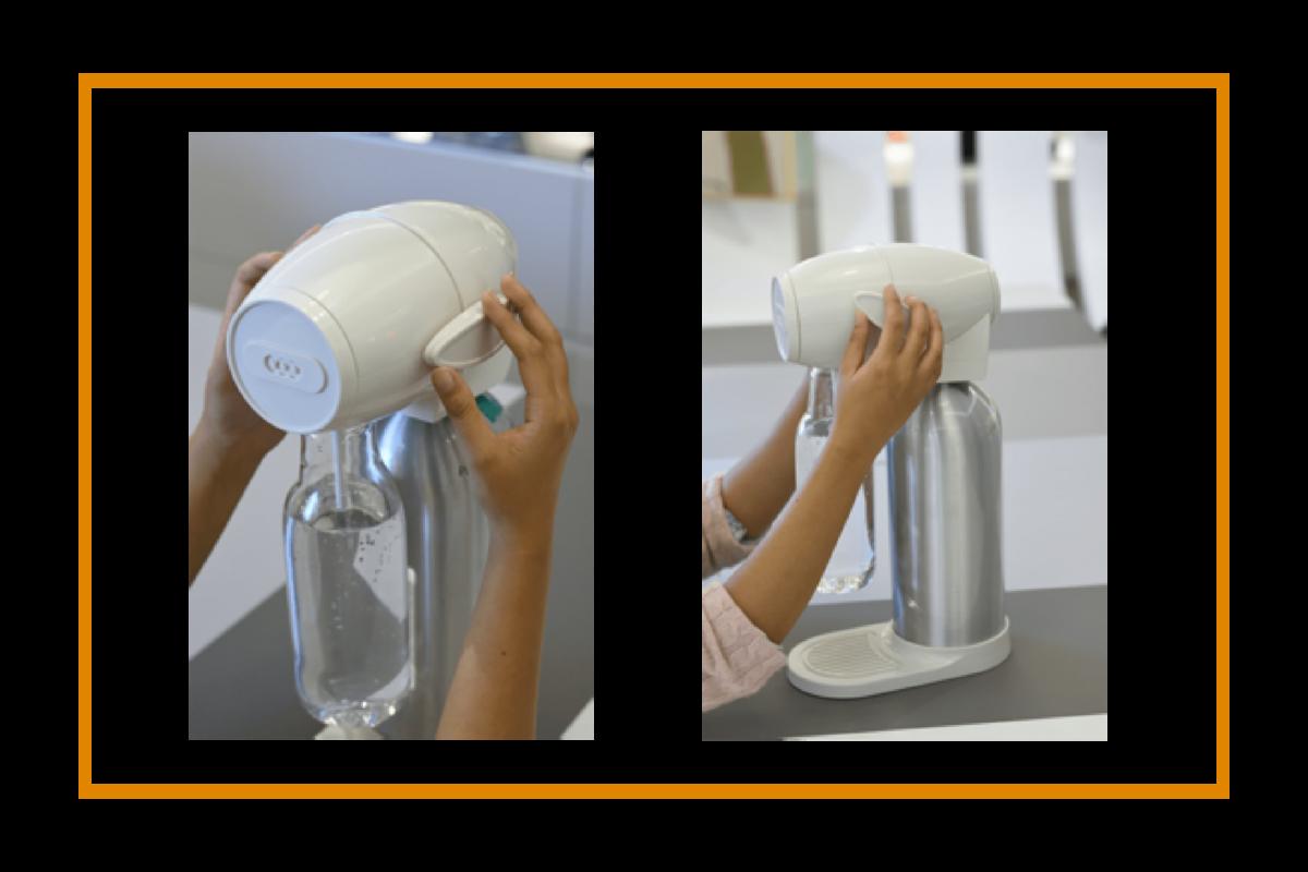 酷泡氣泡水瓶打氣的樣子