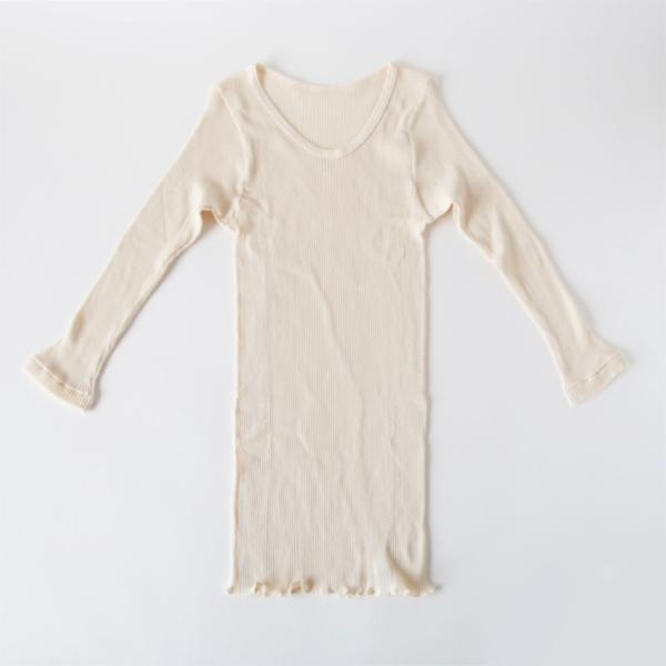 天衣無縫/漢方染め リブ8部袖シャツ