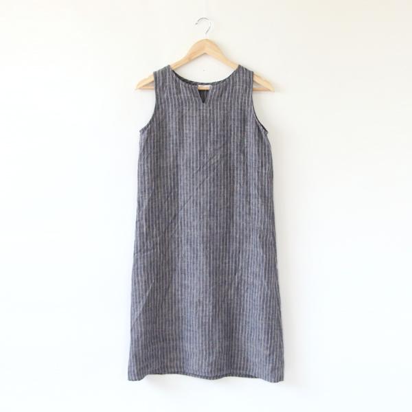 【別注】リア ノースリーブナイトシャツ ハーフ ネイビーストライプ