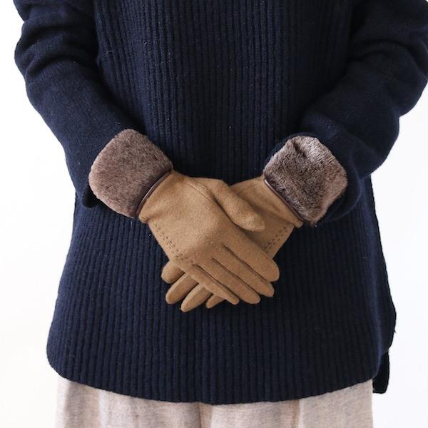 女性用手袋 ファー付