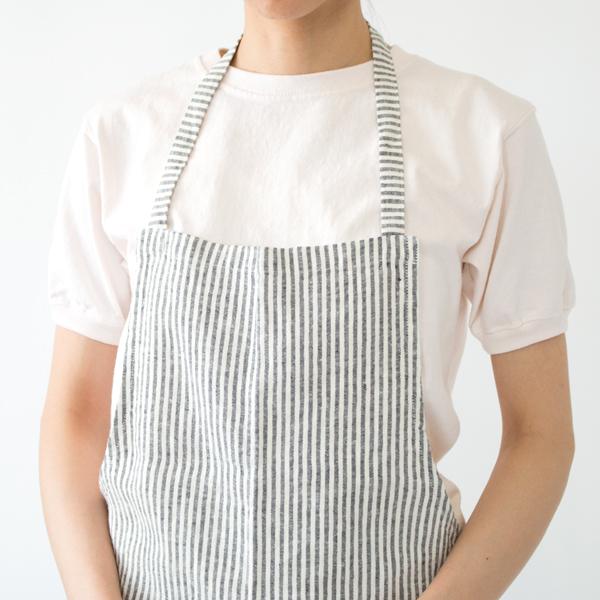 リネンエプロン Regular apron Stripe Blackthin