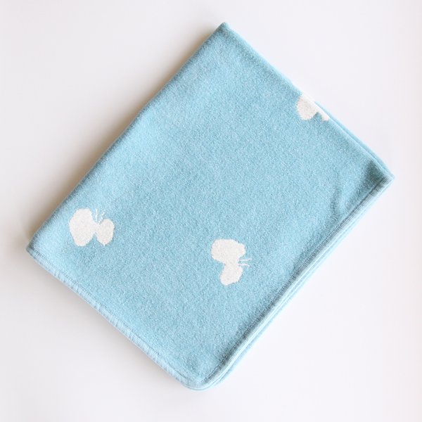 Mini chenille blanket CHOUCHO light blue