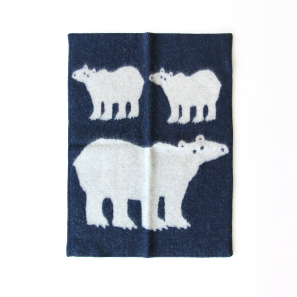 MINI BLANKET WHITE BEAR NAVY