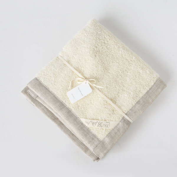 Linen massage bath mat White