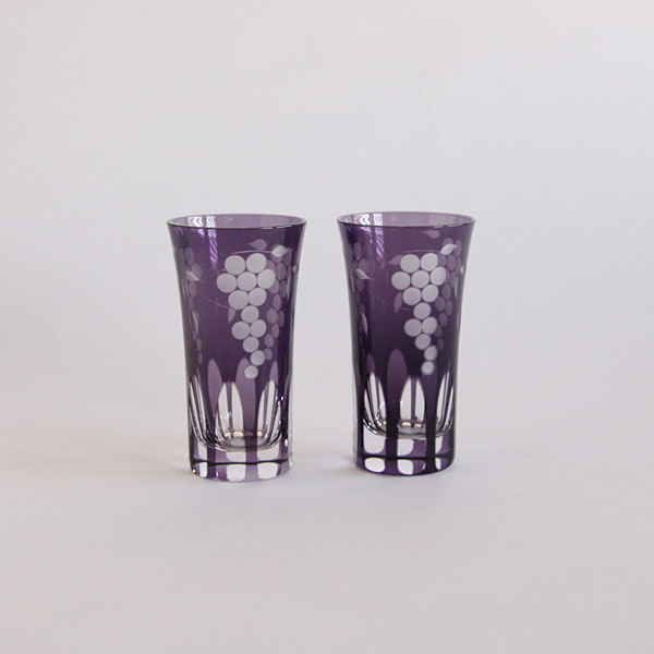 Glass Edo Kiriko Grape motifs mini beer cup pair