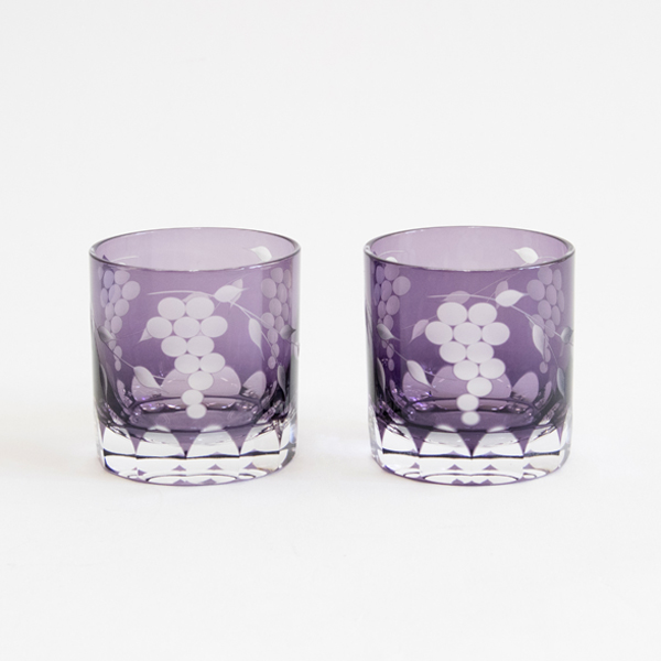 EDO KIRIKO GLASS GRAPE PATTERN MINI OLD