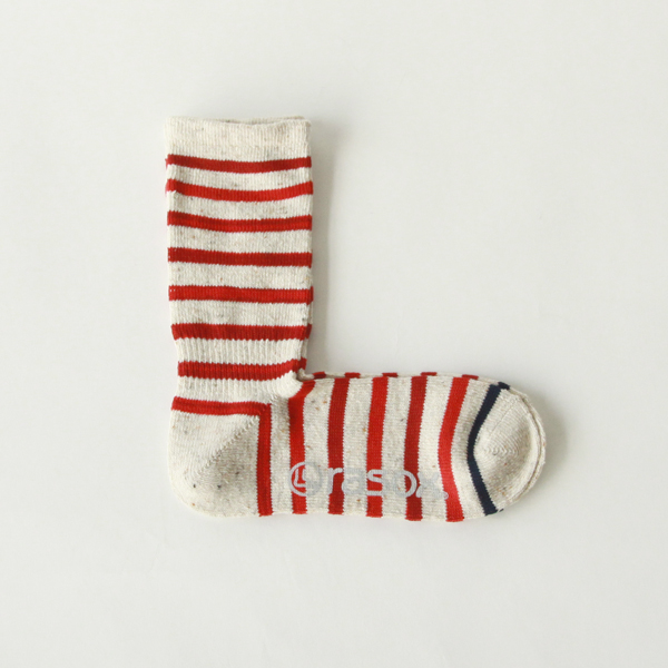 Men Cotton Border Crew Socks