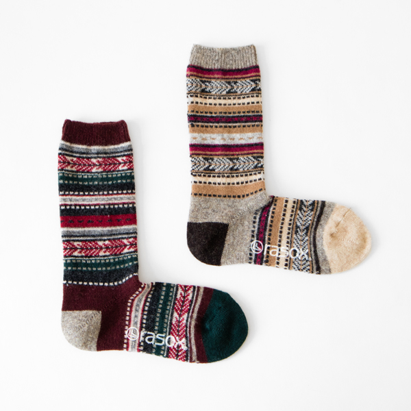 Jacquard wool crew Women Socks