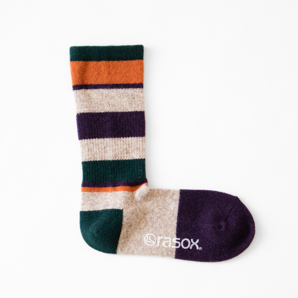 MEN MULTI STRIPE WOOL CREW SOCKS