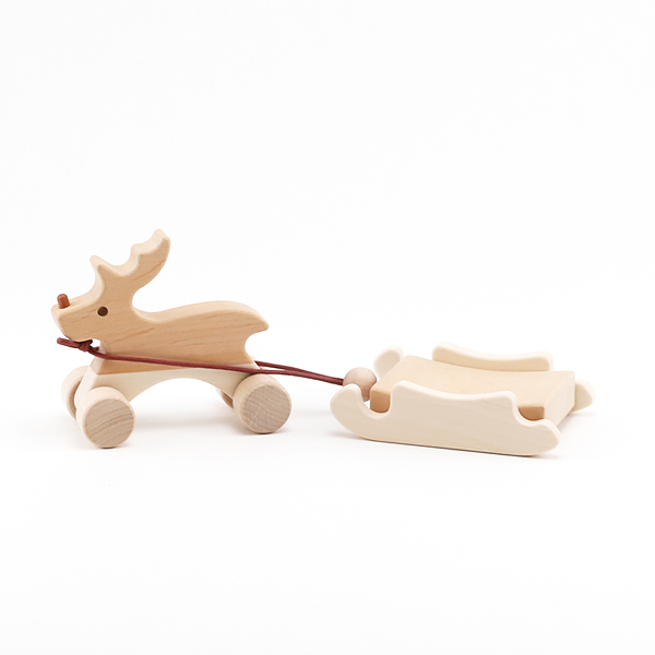 PULL TOY REINDEER AND SLED