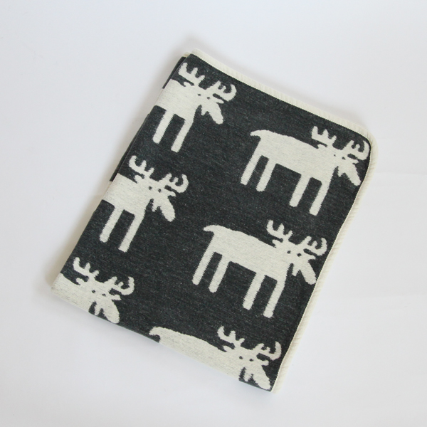 Mini chenille blanket moose gray