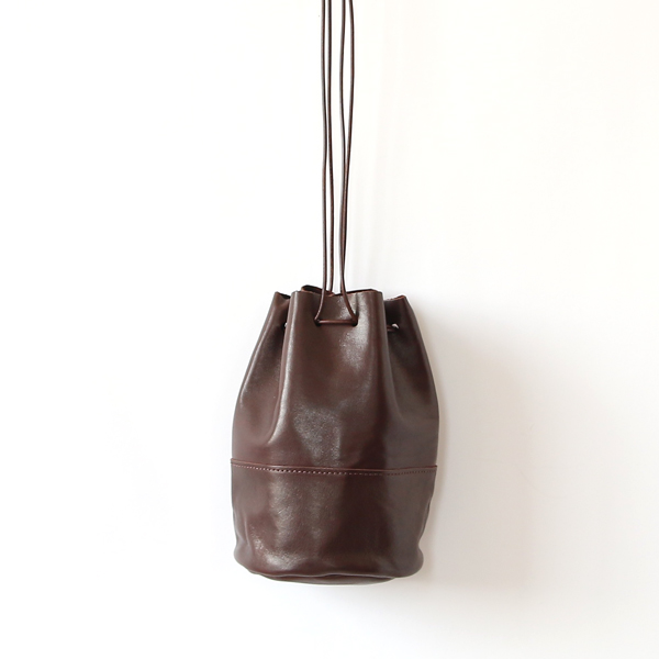 HORSE LEATHER DRAW STRINGS POUCH/S(巾着ショルダー)(CHOCO)