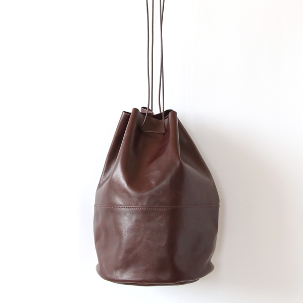 HORSE LEATHER DRAW STRINGS POUCH/L(巾着ショルダー)(CHOCO)